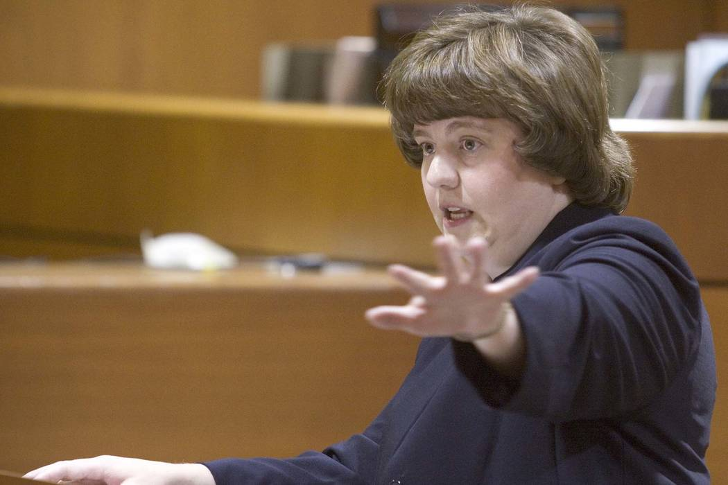 Rachel Mitchell makes an opening statement in the trial of Karl LeClaire at court in Mesa, Ariz., Oct. 27, 2004. Senate Republicans are bringing Mitchell to handle questioning about allegations o ...