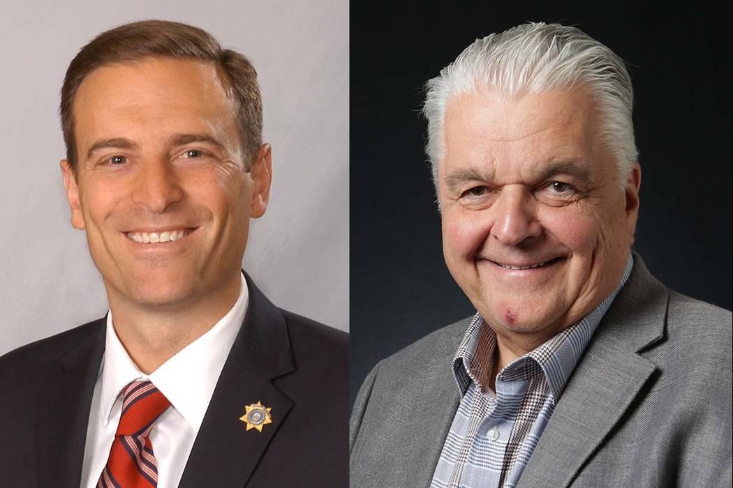 Nevada gubernatorial candidates Adam Laxalt, left, and Steve Sisolak (Las Vegas Review-Journal)