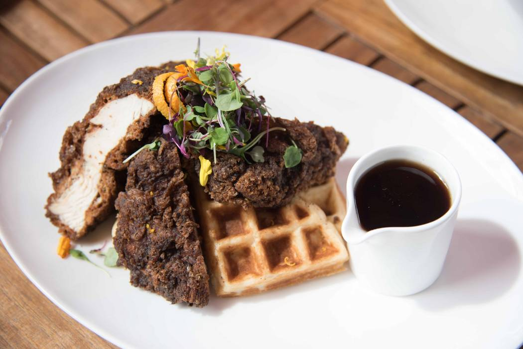 Jerk fried chicken and waffles at DW Bistro