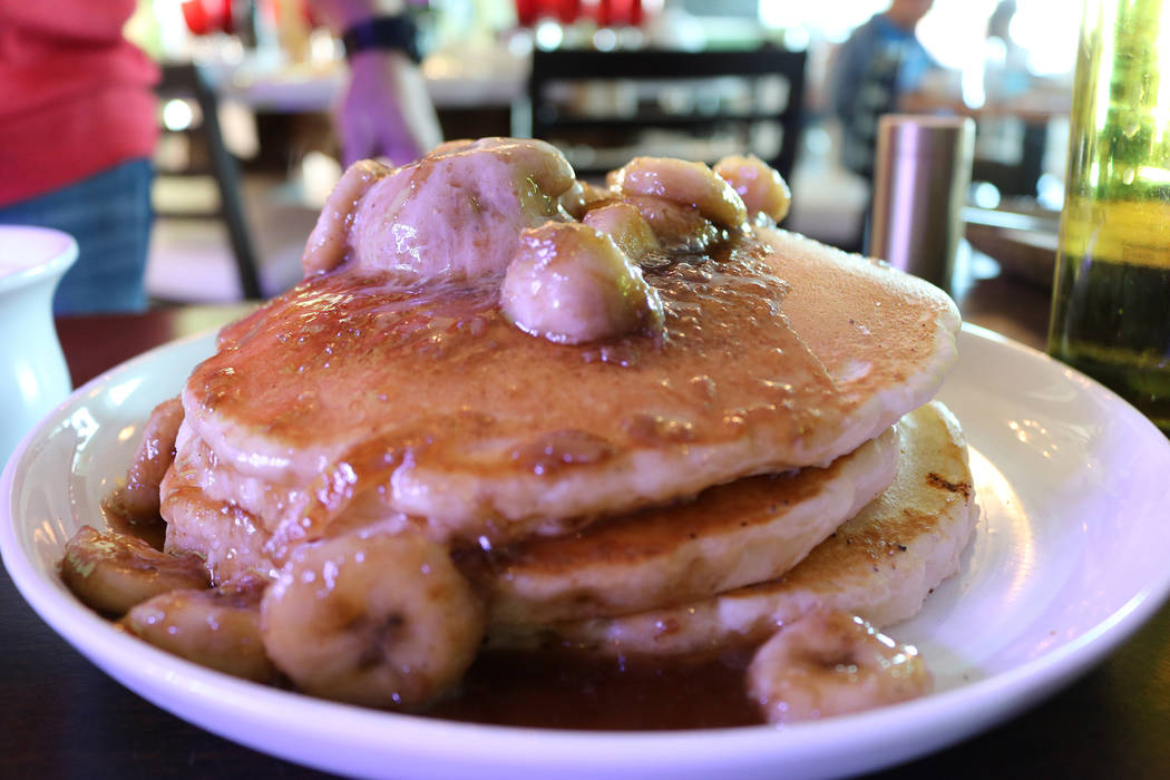 The Stove in Henderson serves Bananas Foster Pancakes as part of their brunch menu. (Janna Karel Las Vegas Review-Journal)
