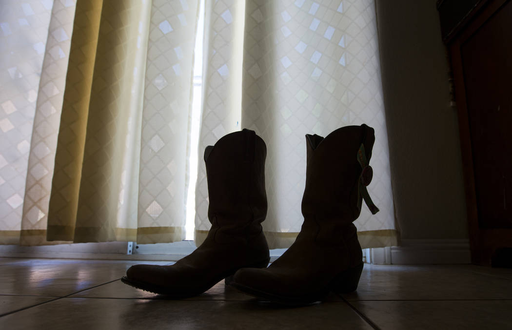 The boots that were worn by Teche Bergeron the night of Oct. 1 as she escaped the festival grounds in Las Vegas on Friday, Aug. 17, 2018. Chase Stevens Las Vegas Review-Journal @csstevensphoto