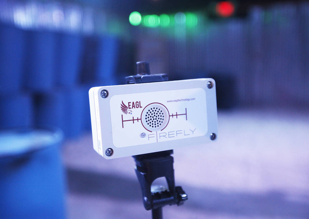 The FireFly indoor wireless gunshot sensor on display at Las Vegas Gun Fights in Las Vegas, Monday, Sept. 24, 2018. It's created by EAGL, a company that specializes in gunshot detection and lockdo ...