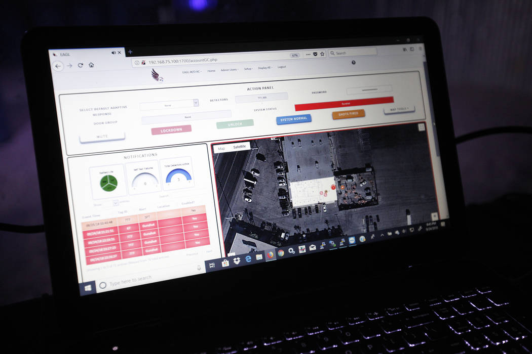 The interface for the EAGL server shown at Las Vegas Gun Fights in Las Vegas, Monday, Sept. 24, 2018. When a sensor detects a gun shot, the interface can display the nearest camera to where the de ...