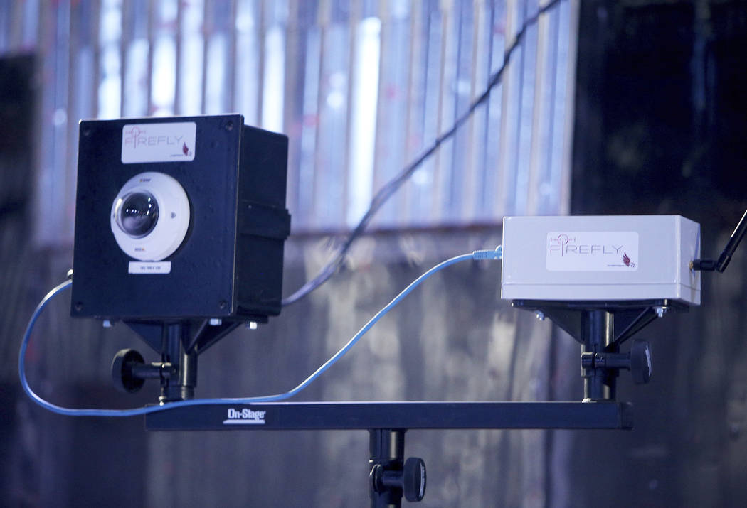 The gateway device receives information wirelessly from sensors as part of the EAGL gun shot detection system on display at Las Vegas Gun Fights in Las Vegas, Monday, Sept. 24, 2018. When a gun i ...