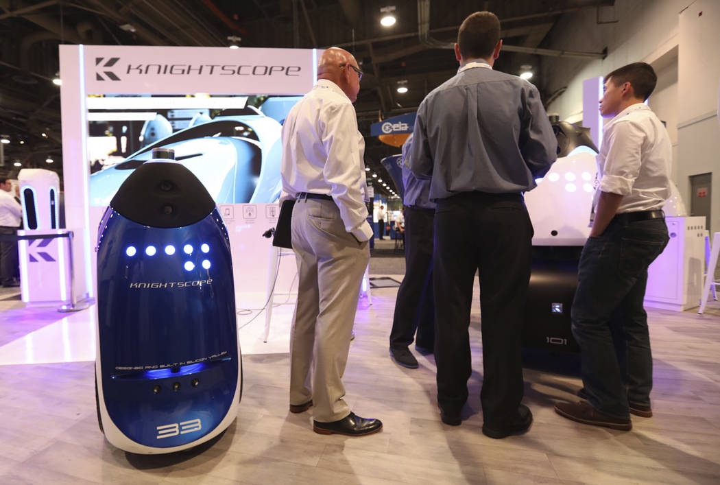 Knightscope's autonomous security robot models K3 and K5 at GSX at the Las Vegas Convention Center on Wednesday, September 26, 2018. (Todd Prince/Las Vegas Review-Journal)