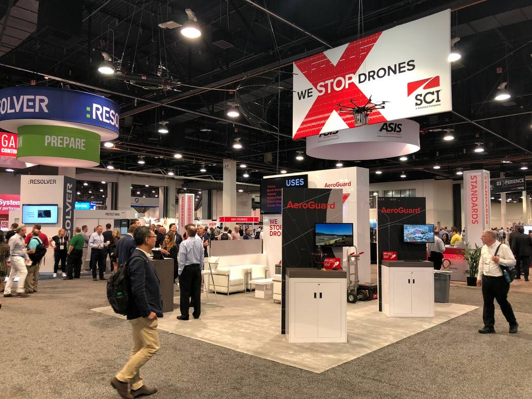 SCI Technology booth showing off their drone hunter Aeroguard on Wednesday at GSX at the Las Vegas Convention Center on Wednesday, September 26, 2018. (Todd Prince/Las Vegas Review-Journal)