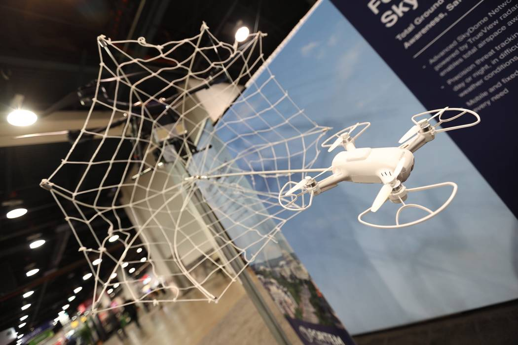 Fortem Technologies displaying a web capturing a drone at their booth at GSX at the Las Vegas Convention Center on Wednesday, September 26, 2018. (Todd Prince/Las Vegas Review-Journal)
