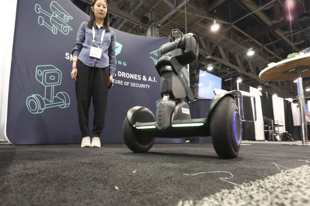 Turing showing off their autonomous security robot on Wednesday at GSX at the Las Vegas Convention Center on Wednesday, September 26, 2018. (Todd Prince/Las Vegas Review-Journal)