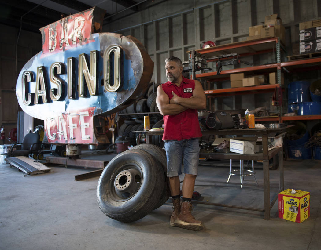 """Steve Darnell, the owner of Welder Up, the car fabrication series featured on Discovery's """"Vegas Rat Rods"""" poses for a portrait outside inside of the Welder Up shop in Las Vegas, Wednesd ..."""