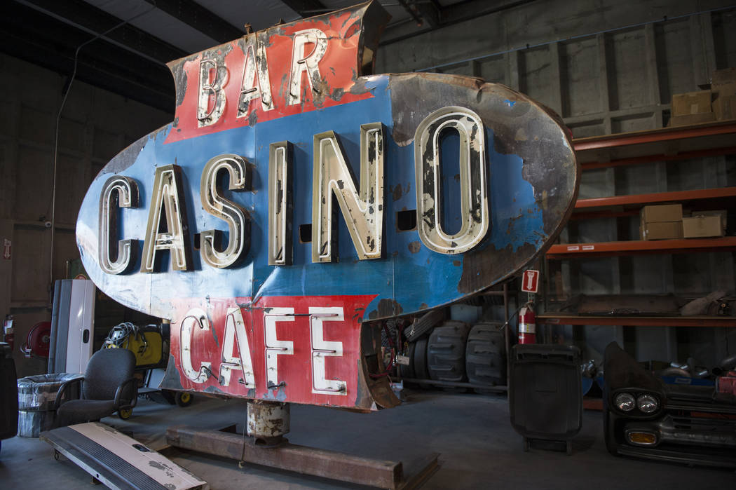A sign Steve Darnell and his crew found in the desert and later fixed up is displayed in the Welder Up shop in Las Vegas, Wednesday, Sept. 26, 2018. Caroline Brehman/Las Vegas Review-Journal