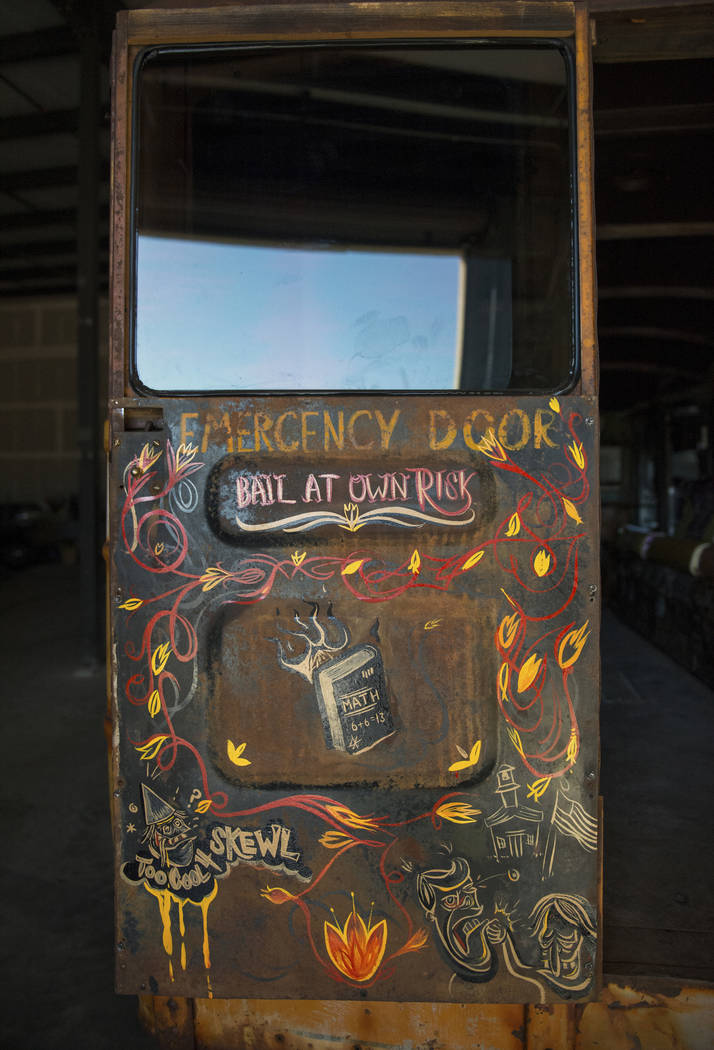 """A fixed up and customized school bus is on display inside the Welder Up garage where Steve Darnell, the owner of Welder Up, the car fabrication series featured on Discovery's """"Vegas Rat Rods& ..."""