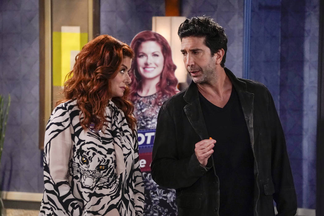"""WILL & GRACE -- """"The West Side Curmudgeon"""" Episode 203 -- Pictured: (l-r) Debra Messing as Grace Adler, David Schwimmer as Noah Broader -- (Photo by: Chris Haston/NBC)"""