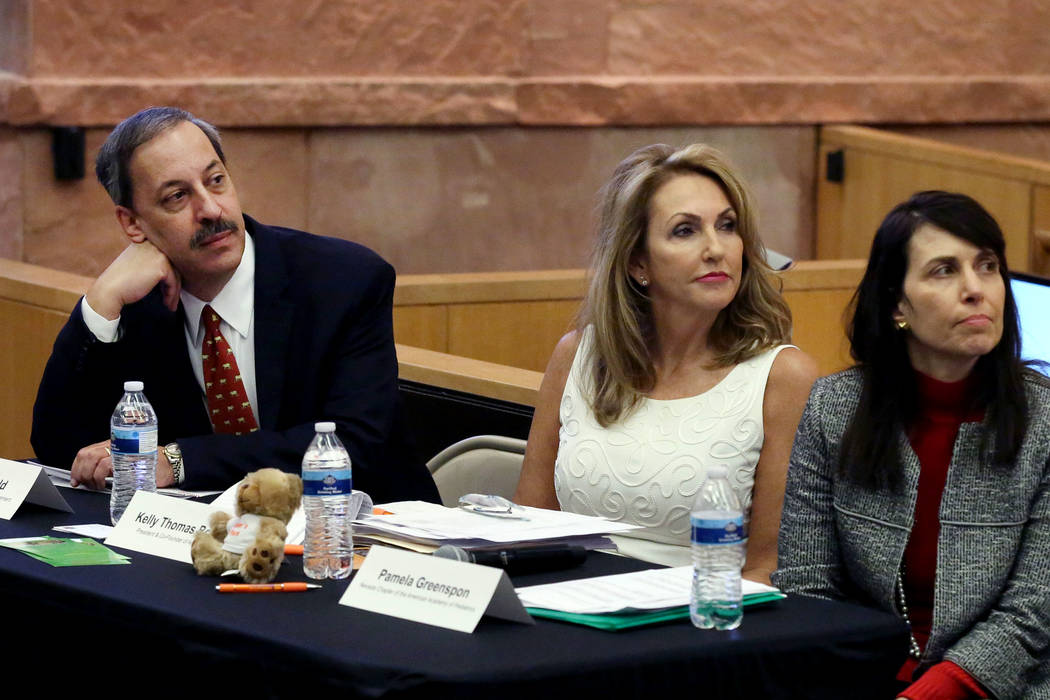 Dr. David Schonfeld, left, director of the National Center for School Crisis and Bereavement, Kelly Thomas-Boyers, center, president and co-founder of Adam's Place, and Pamela Greenspon, Nevada Ch ...
