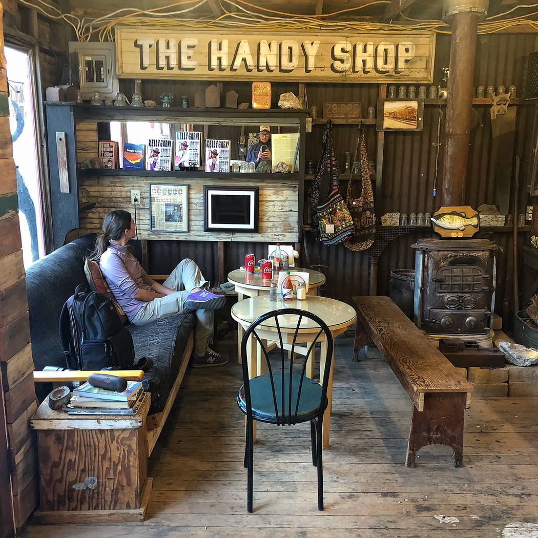 A customer inside Ghost Town Art & Coffee in Pioche on Sunday, Sept. 23, 2018. (Todd Prince/Las Vegas Review-Journal)