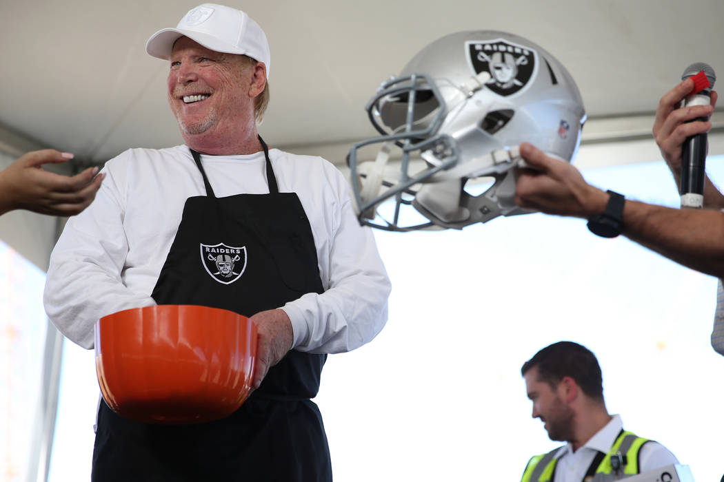 Raiders owner Mark Davis participates in a worker appreciation event at the site of the future Raiders stadium in Las Vegas, Thursday, Sept. 27, 2018. Erik Verduzco Las Vegas Review-Journal @Erik_ ...