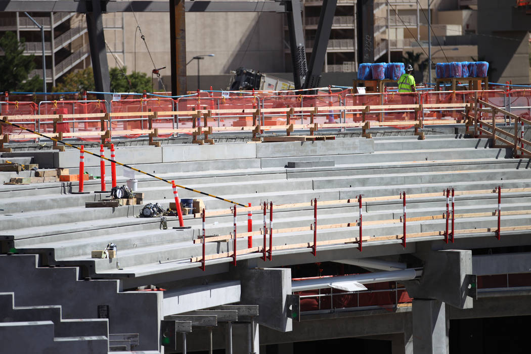 The first section of seating inside the bowl of the future Raiders stadium construction site in Las Vegas, Thursday, Sept. 27, 2018. Erik Verduzco Las Vegas Review-Journal @Erik_Verduzco