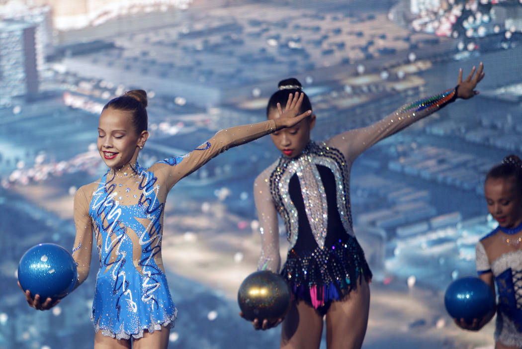 Nevada Rhythmic Academy members perform at the ground breaking ceremony event for the Madison Square Garden Sphere, a new venue expected to open in 2021 in Las Vegas, Thursday, Sept. 27, 2018. The ...