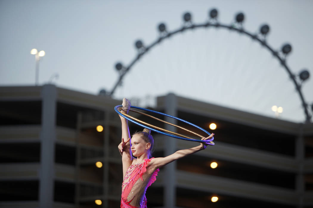 A member of the Nevada Rhythmic Academy performs at the ground breaking ceremony event for the Madison Square Garden Sphere, a new venue expected to open in 2021 in Las Vegas, Thursday, Sept. 27, ...