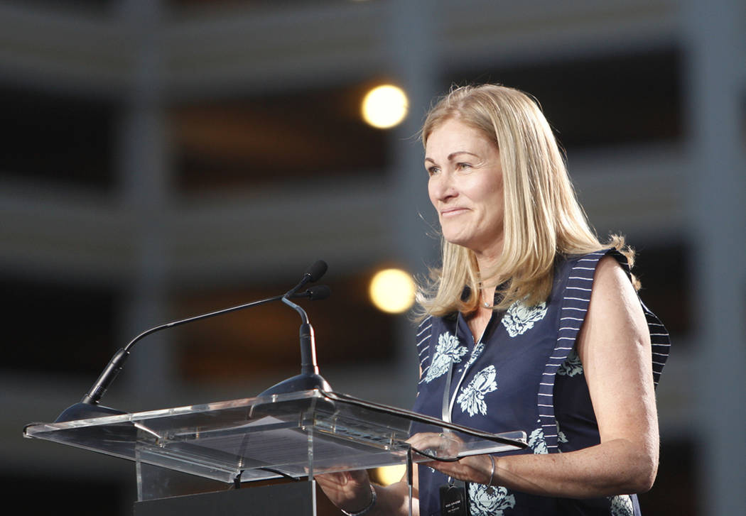 Jayne McGivern, executive vice president of development and construction for the Madison Square Garden Company, addresses the crowd at the ground breaking ceremony event for the Madison Square Gar ...