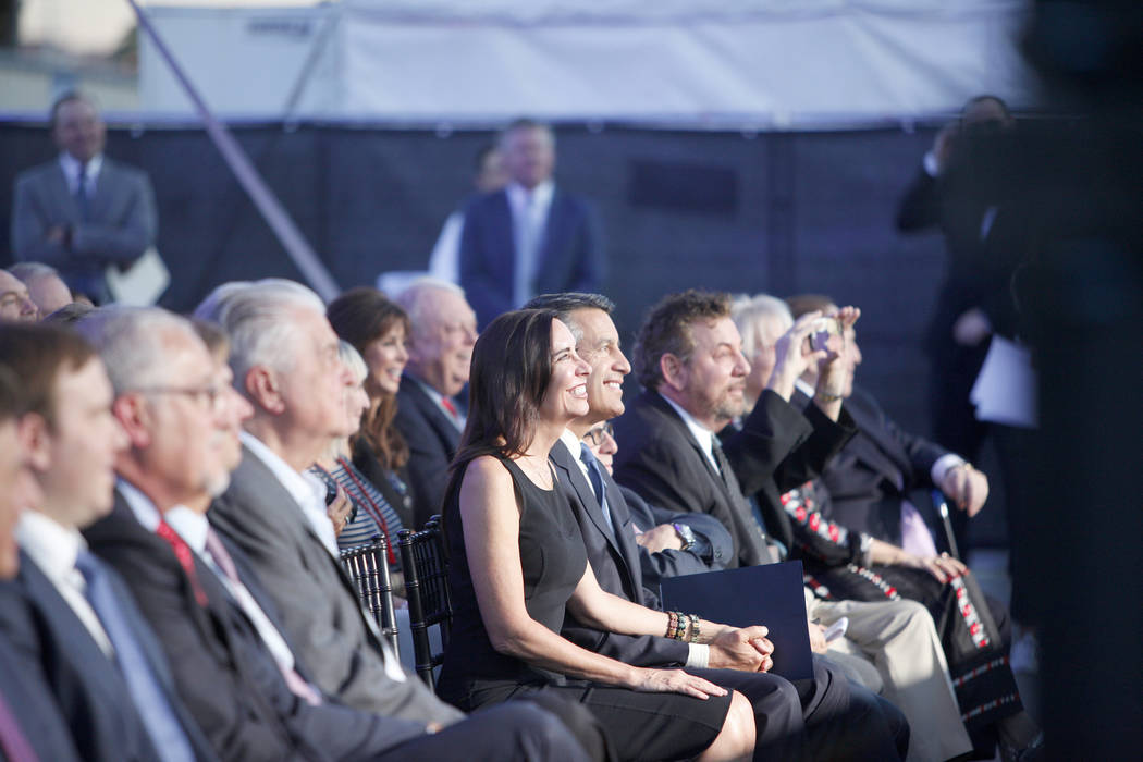 Executives and politicians, including Gov. Brian Sandoval and his wife Lauralyn McCarthy, line the front row at the ground breaking ceremony event for the Madison Square Garden Sphere, a new venue ...