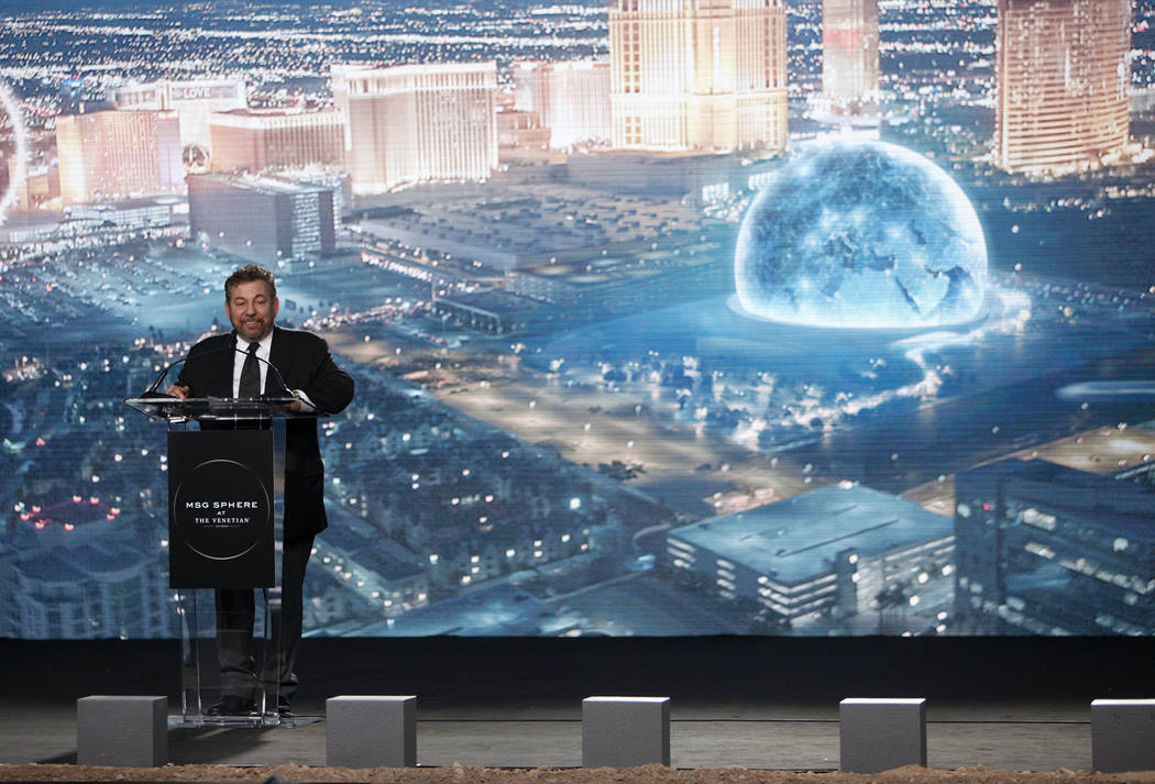 James Dolan, CEO of the Madison Square Garden Co., addresses the crowd at the ground breaking ceremony event for the Madison Square Garden Sphere, a new venue expected to open in 2021 in Las Vegas ...