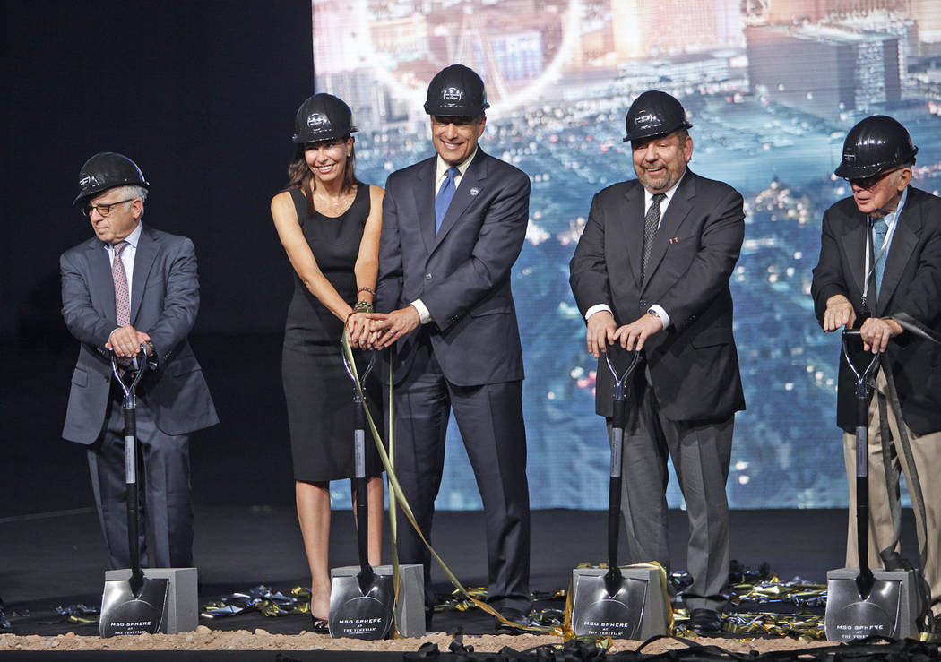 Politicians and company executives break ground for the Madison Square Garden Sphere, a new venue expected to open in 2021 in Las Vegas, Thursday, Sept. 27, 2018. The sphere shaped venue will have ...