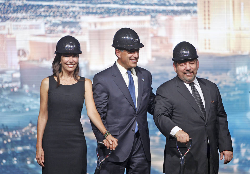 First lady of the state Lauralyn McCarthy, from left, Gov. Brian Sandoval, and Madison Square Garden CEO James Dolan at the ground breaking event for the Madison Square Garden Sphere, a new venue ...