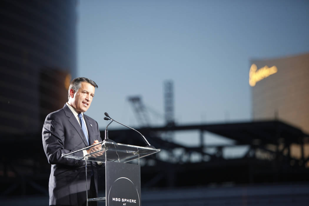 Gov. Brian Sandoval addresses the crowd at the ground breaking ceremony event for the Madison Square Garden Sphere, a new venue expected to open in 2021 in Las Vegas, Thursday, Sept. 27, 2018. The ...