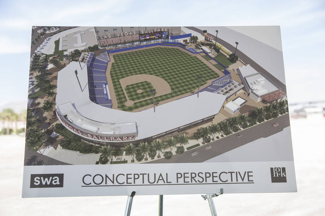 A conceptual drawing of the future site of the Las Vegas 51s new stadium during a press conference to officially announce the 2-year player development contract between the 51s and the Oakland Ath ...