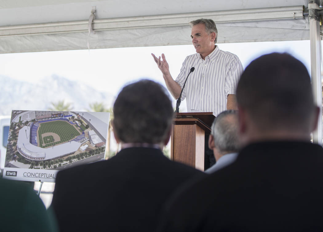 Billy Beane, Oakland Athletics executive vice president of baseball operations, speaks during a press conference to officially announce the 2-year player development contract between the Las Vegas ...