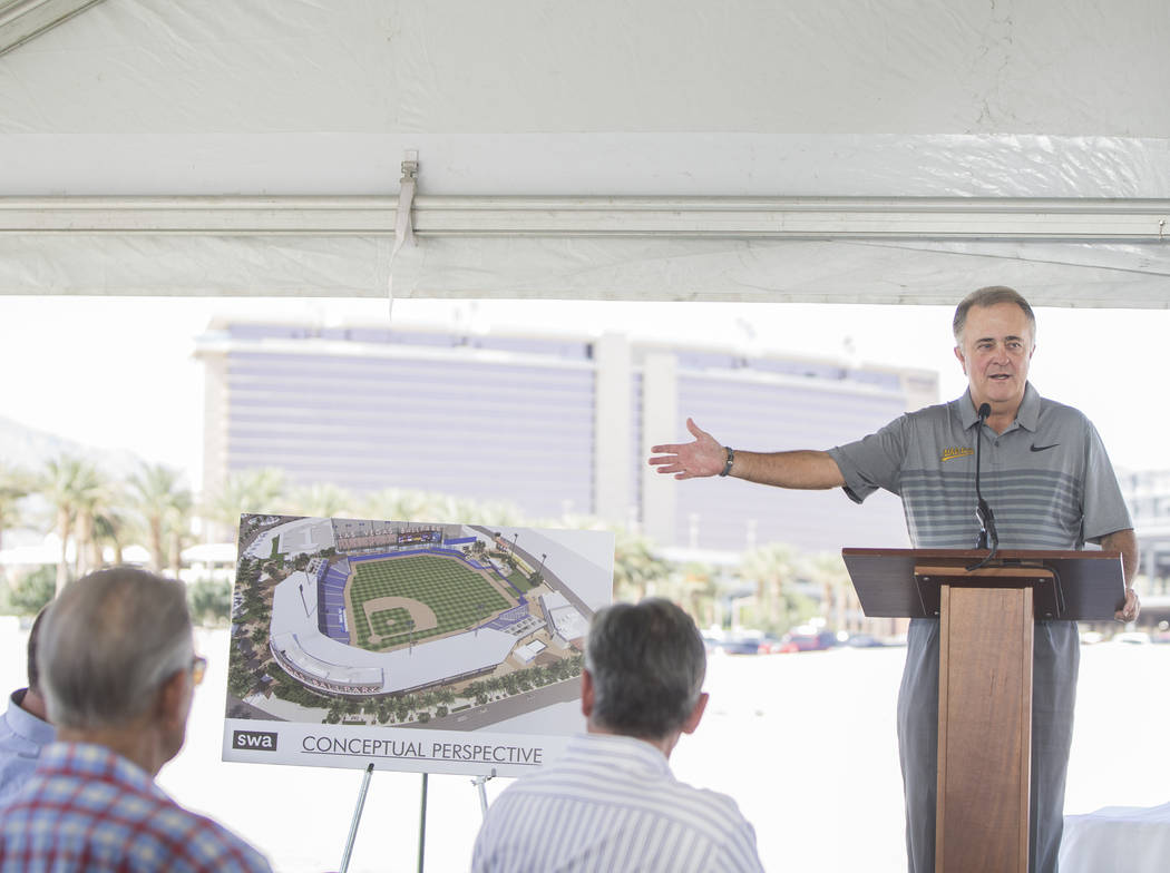 Las Vegas 51s president Don Logan speaks during a press conference to officially announce the 2-year player development contract between the 51s and the Oakland Athletics on Thursday, Sept. 27, 20 ...