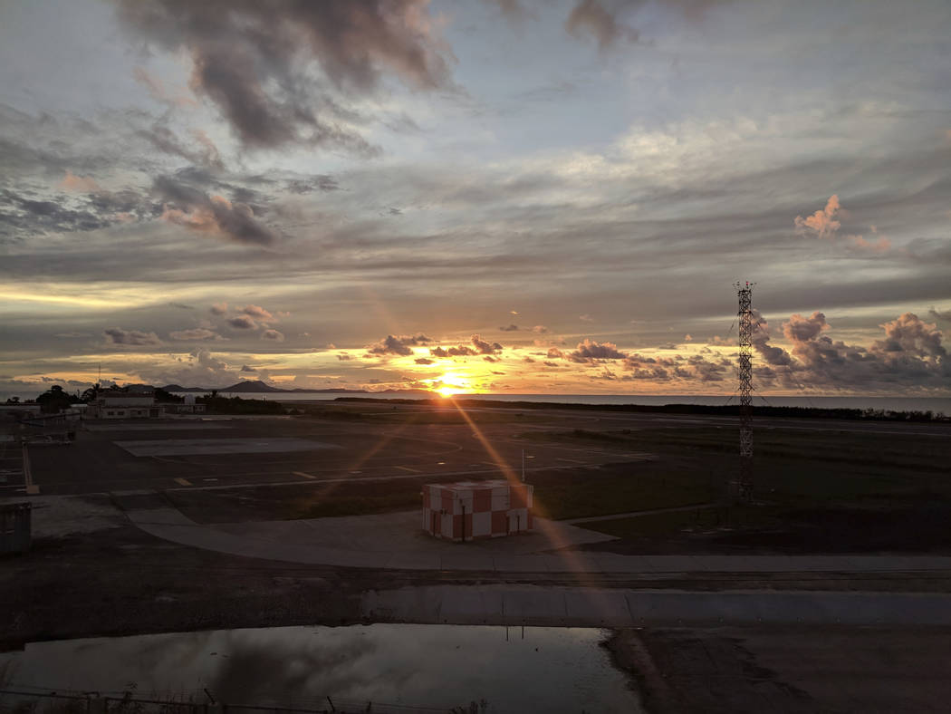 This Oct. 28, 2017, photo shows the runway at the Chuuk Airport in Weno, Federated States of Micronesia. An Air Niugini plane hit the water short of the runway Friday morning, Sept. 28, 2018 while ...