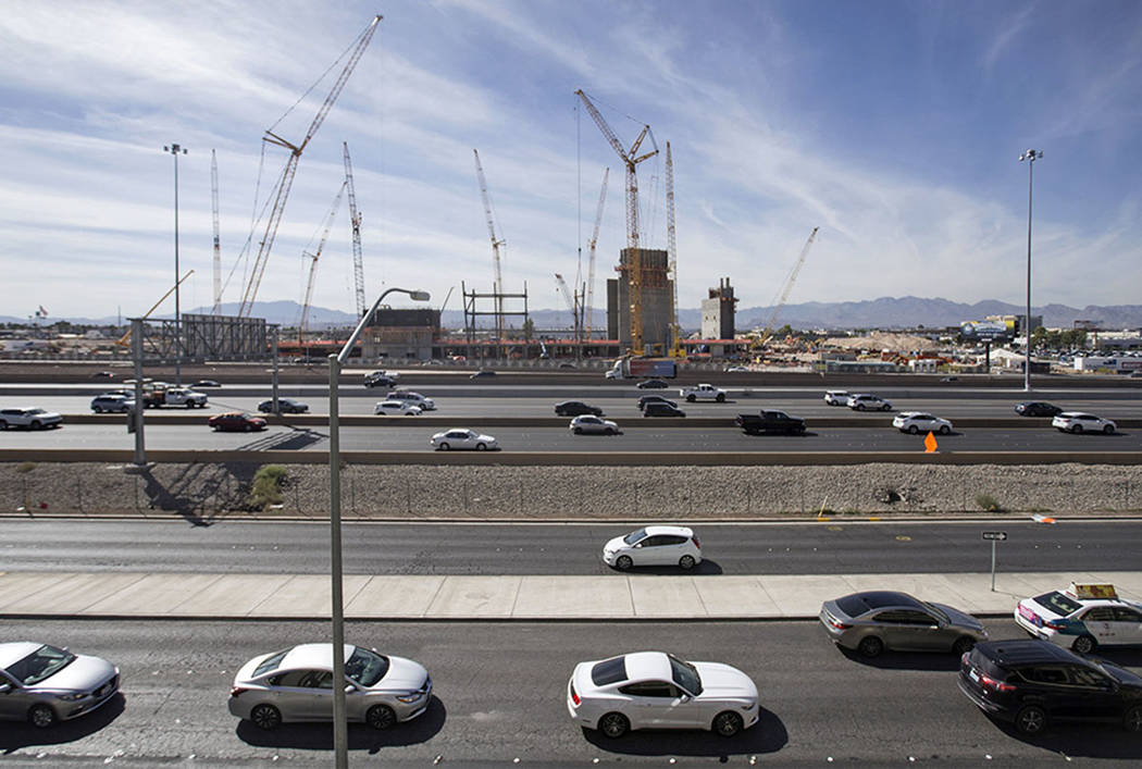 Construction continues on Las Vegas' 65,000-seat, $1.8 billion indoor football stadium on Friday, Sept. 28, 2018, in Las Vegas. Benjamin Hager Las Vegas Review-Journal @benjaminhphoto