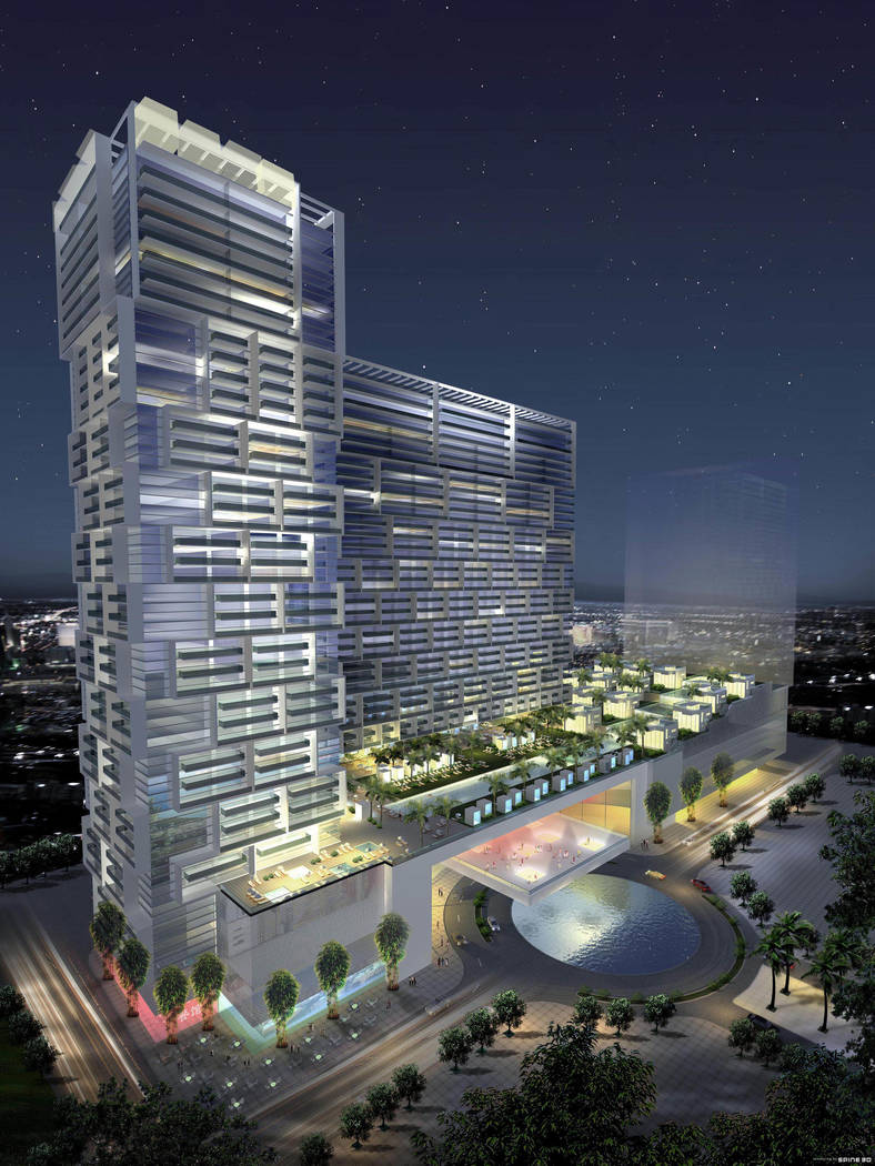 This rendering shows a proposed condo-hotel that would have been part of Las Ramblas, a $3 billion project just east of the Strip that was never built. (AP Photo/Las Ramblas)