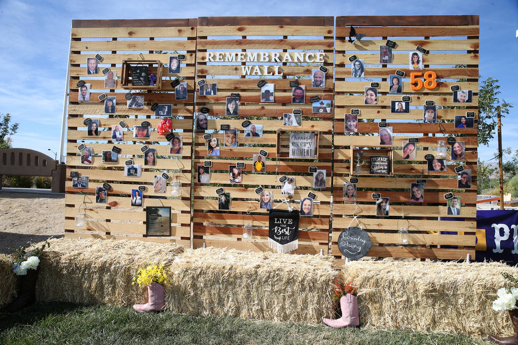 A remembrance wall is displayed during a private reunion for those who attended the Route 91 Harvest festival concert last year, at Centennial Hills Park in Las vegas, Saturday, Sept. 29, 2018. Er ...