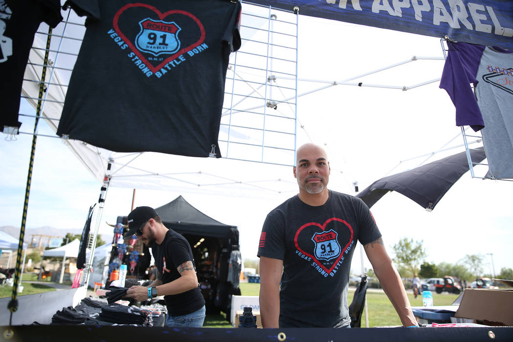 Steven Michaels, CEO of Combat Punk Apparel Company, was chosen as the official shirt booth for the reunion for Route 91 Harvest festival survivors, at the Centennial Hills Park in Las Vegas, Satu ...