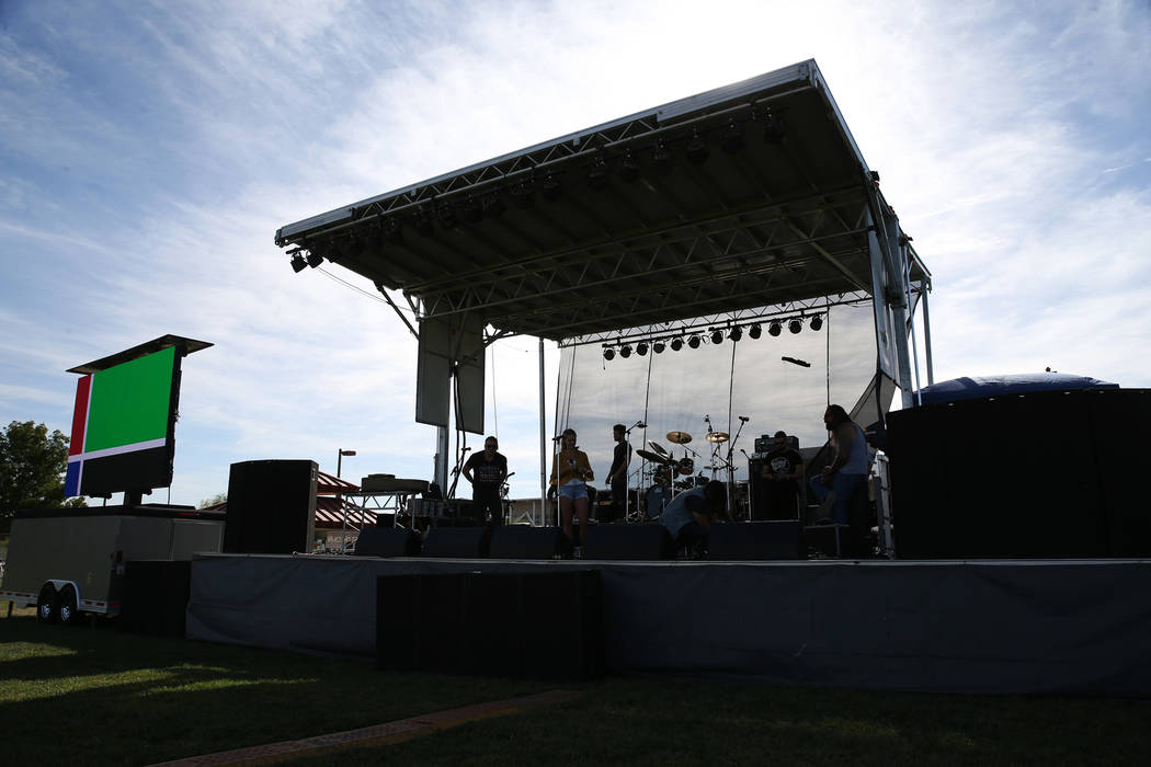 The stage for the private reunion for those who attended the Route 91 Harvest festival concert last year, at Centennial Hills Park in Las vegas, Saturday, Sept. 29, 2018. Erik Verduzco Las Vegas R ...