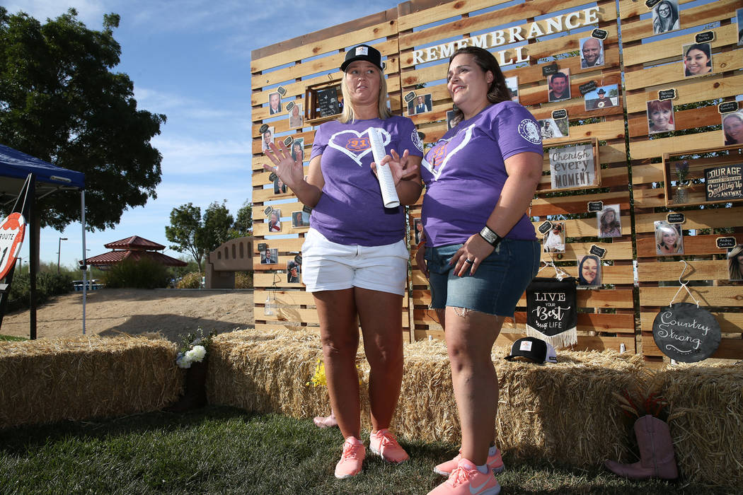 Reunion organizers Shawna Bartlett, left, and Connie Long, are interviewed in front of a remembrance wall during a private reunion for those who attended the Route 91 Harvest festival concert last ...