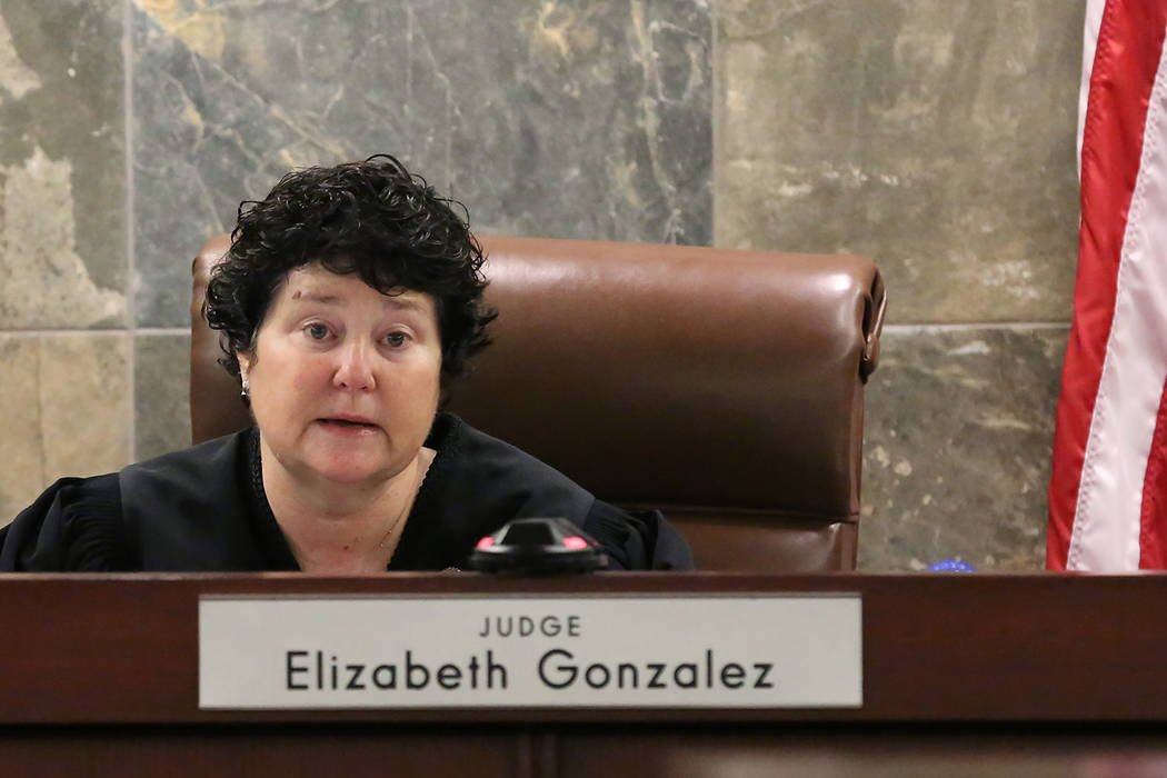 Judge Elizabeth Gonzalez presides at the Regional Justice Center during a hearing on Friday, July 11, 2018, in Las Vegas. Drug manufacturer Alvogen filed suit in an effort to stop Nevada using the ...