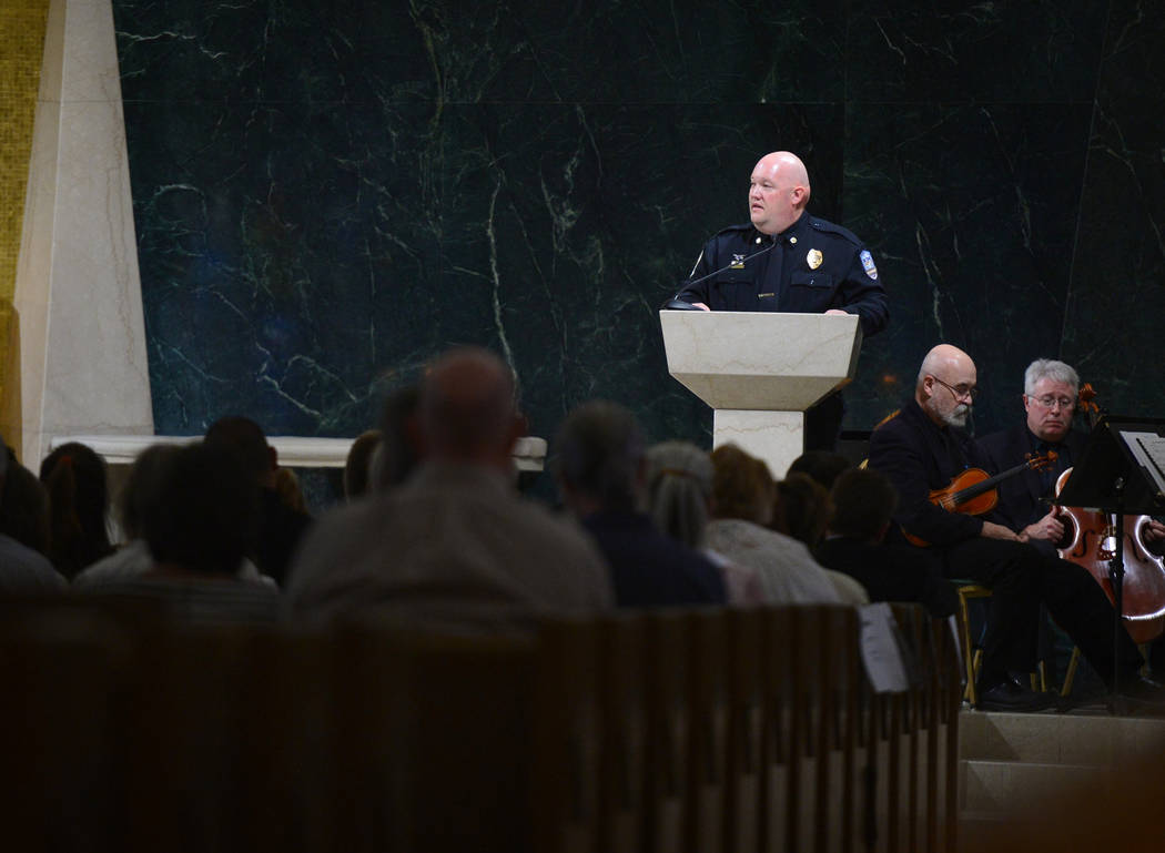 Michael Whitehead, paramedic field supervisor for Medic West Ambulance, talks about his experience on Oct. 1 during an interfaith service at Guardian Angel Cathedral in Las Vegas on Sunday, Sept. ...