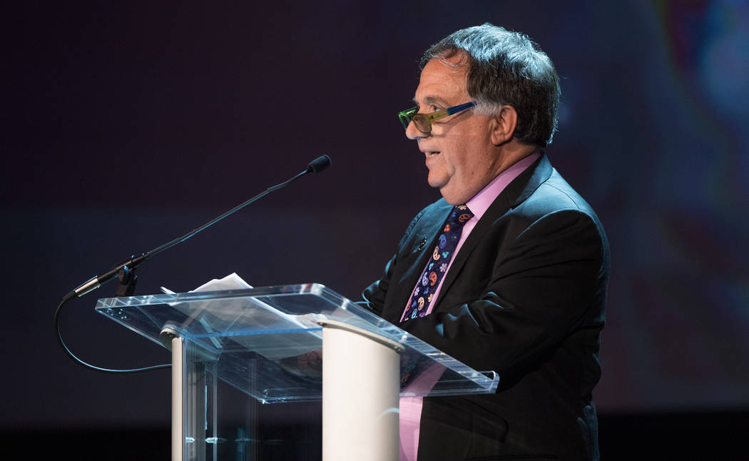 Planet Hollywood Chief Executive Officer Robert Earl is shown onstage during Robin Leach's celebration of life at Palazzo Theater on Friday, Sept. 28, 2018. (Tom Donoghue)