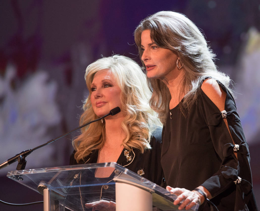 Actresses Morgan Fairchild and Joan Severance are shown onstage during Robin Leach's celebration of lifeat Palazzo Theater on Friday, Sept. 28, 2018. (Tom Donoghue)
