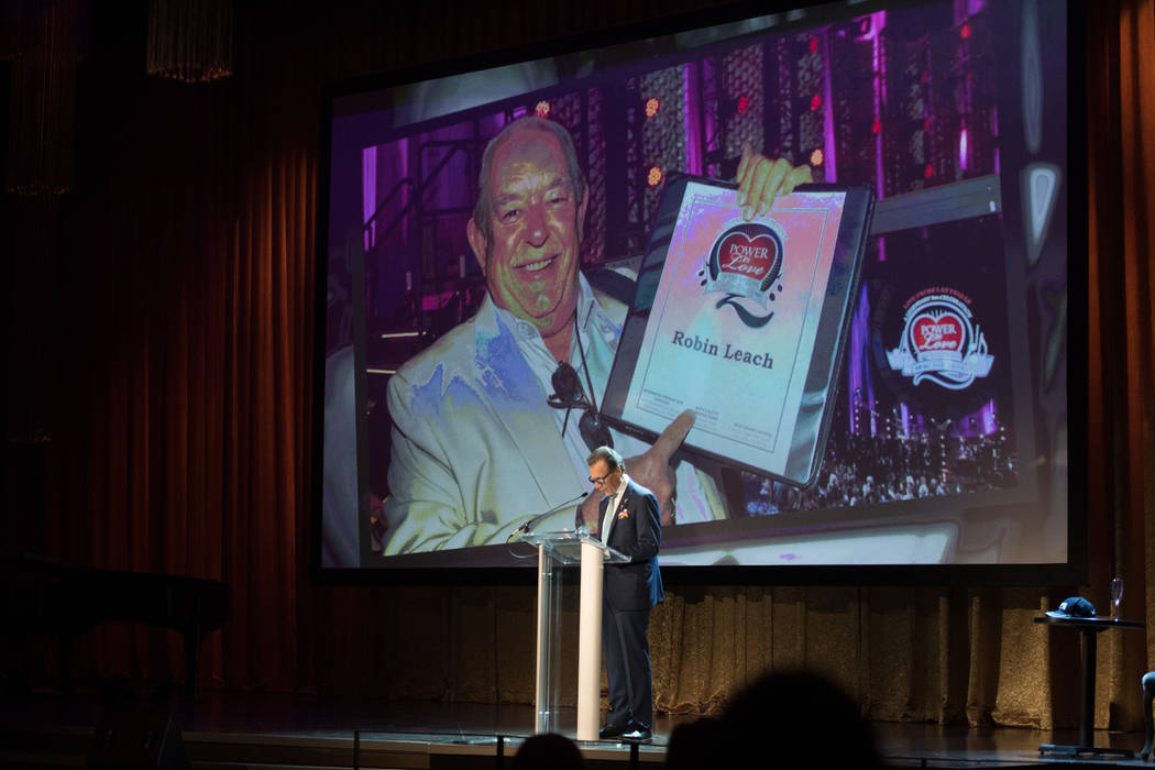 Michael Severino of Southern Glazer's Wine & Spirits of Nevada and the Cleveland Clinic Lou Ruvo Center for Brain Health speaks during at Leach's celebration of life at Palazzo Theater on Friday, ...
