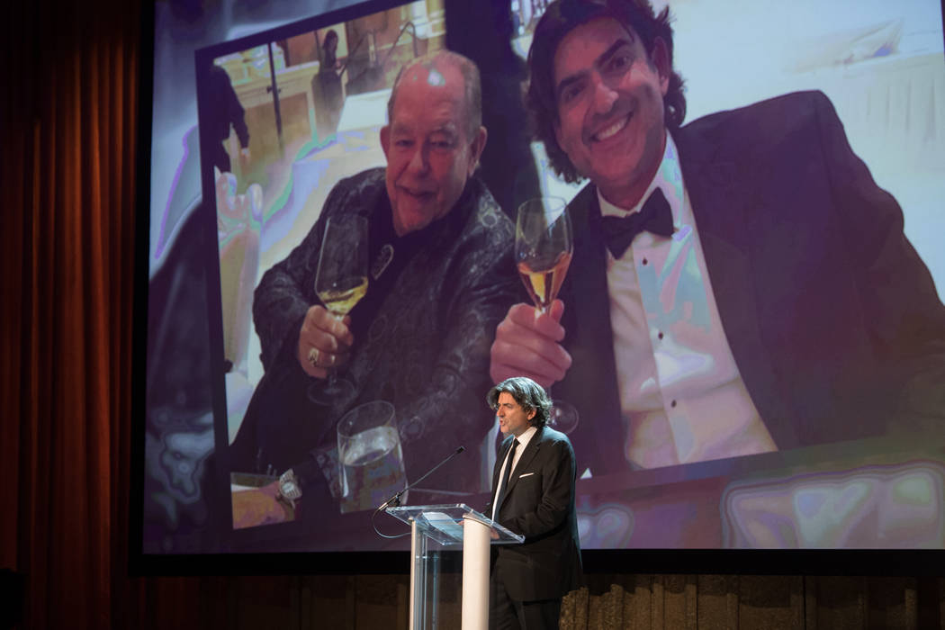 Saville Kellner of Revenue Media and an organizer of Robin Leach's celebration of life is shown onstage at Palazzo Theater on Friday, Sept. 28, 2018. (Tom Donoghue)