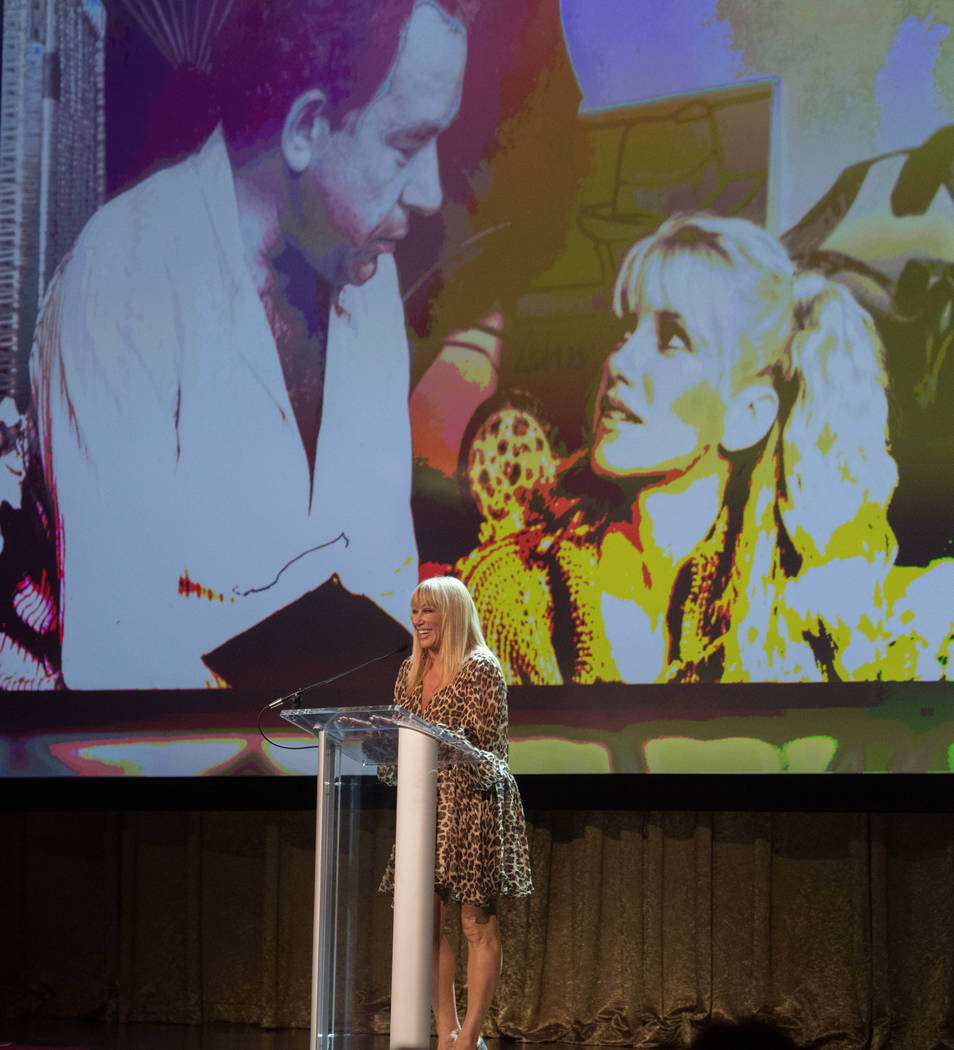 TV and stage star Suzanne Somers is shown onstage during Robin Leach's celebration of life at Palazzo Theater on Friday, Sept. 28, 2018. (Tom Donoghue)