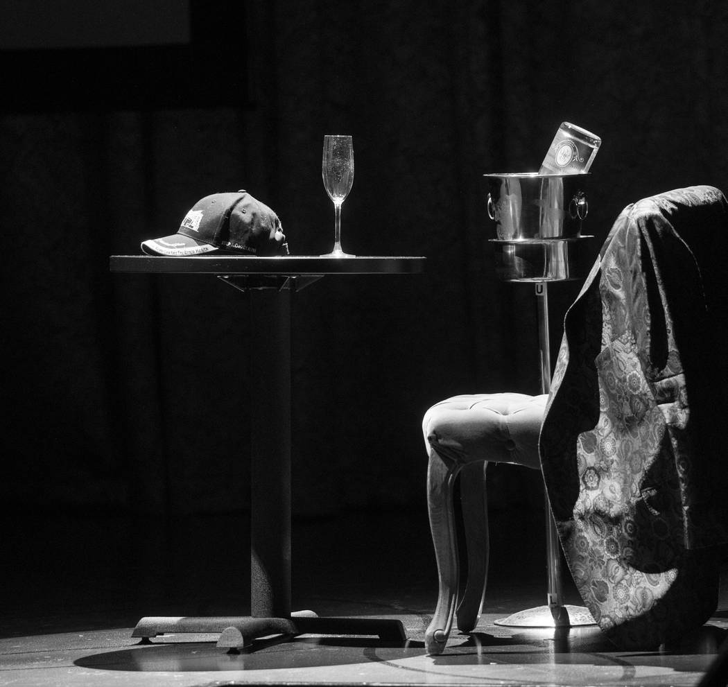 The Robin Leach setup onstage during the late celebrity journalist's celebration of life at Palazzo Theater on Friday, Sept. 28, 2018. (Tom Donoghue)