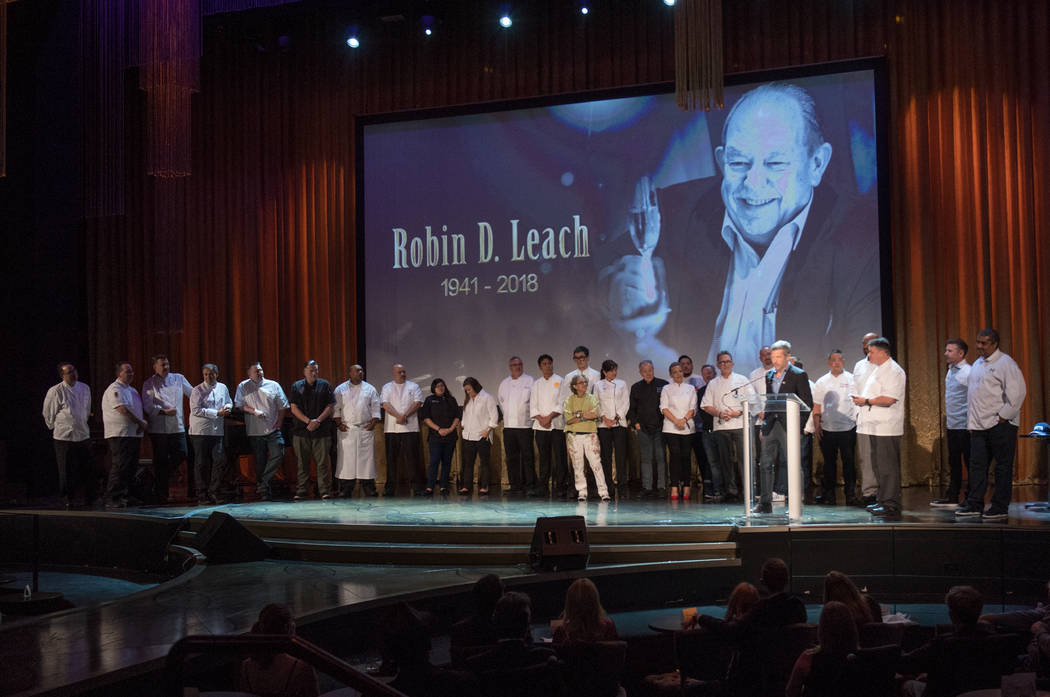 A lineup of star chefs is shown onstage during Robin Leach's celebration of life at Palazzo Theater on Friday, Sept. 28, 2018. (Tom Donoghue)