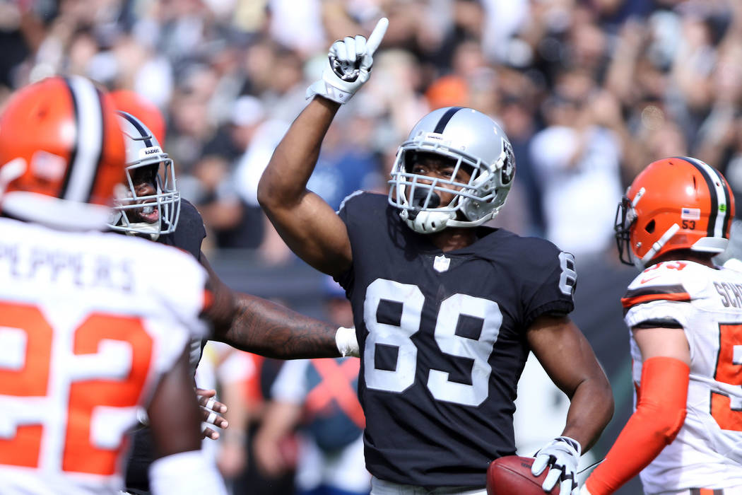 Oakland Raiders wide receiver Amari Cooper (89) celebrates his touchdown during the first half of an NFL game against the Cleveland Browns in Oakland, Calif., Sunday, Sept. 30, 2018. Heidi Fang La ...