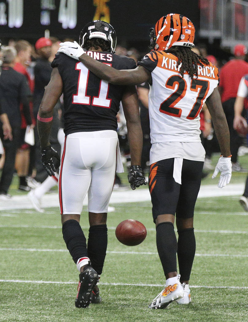 Atlanta Falcons Wide Receiver Julio Jones Gets A Pat On The Back From Cincinnati Bengals Cornerback Dre Kirkpatrick Coming Up Short Of The End Zone On The Final Play Of The Game