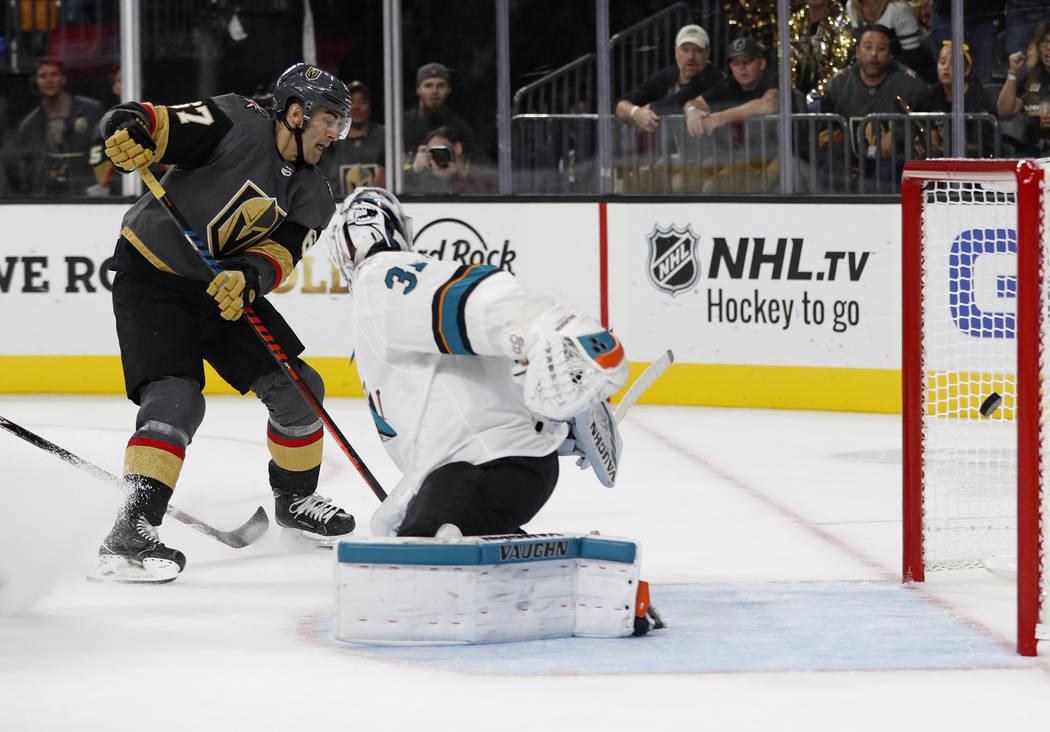 Vegas Golden Knights left wing Max Pacioretty (67) scores on San Jose Sharks goaltender Martin Jones during the second period of a preseason NHL hockey game Sunday, Sept. 30, 2018, in Las Vegas. ( ...